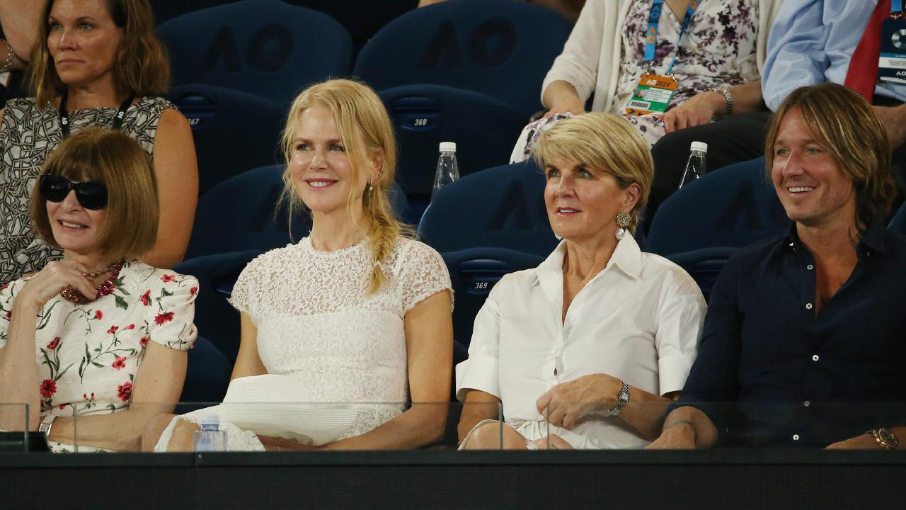 Anna Wintour watches the women's semi final between Petra Kvitova vs Danielle Collins at the Australian Open alongside Nicole Kidman, Julie Bishop and Keith Urban. Picture: Michael Klein.