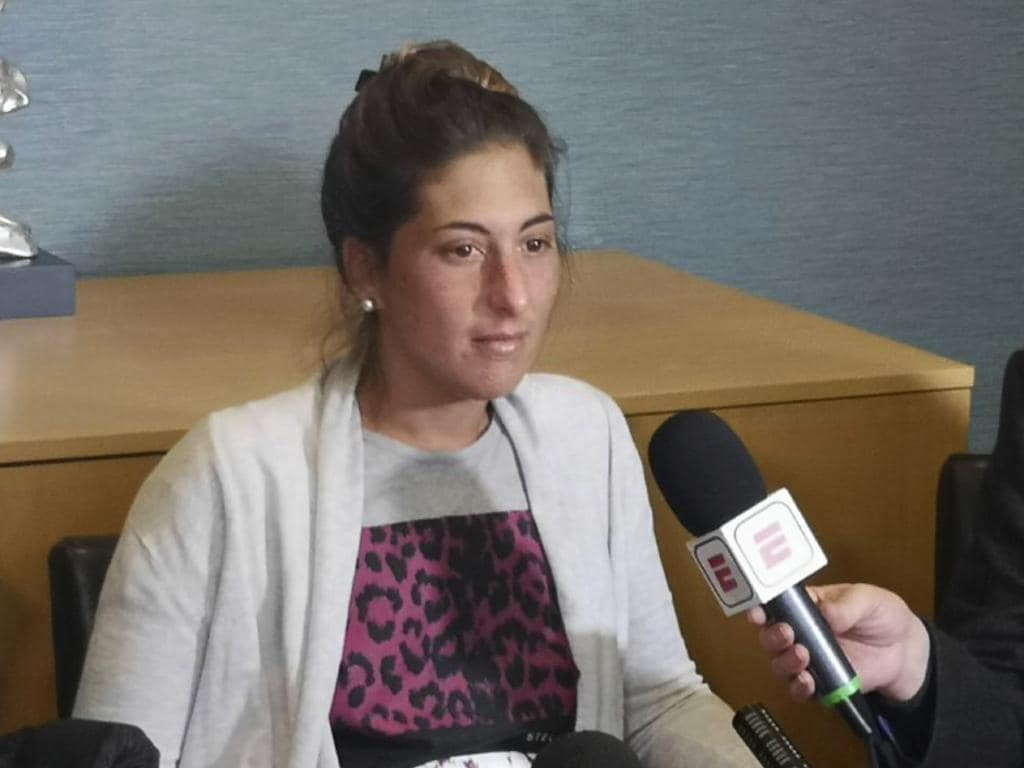 Romina Sala, the sister of Emiliano Sala, talks during a press conference at St David's Hotel in Cardiff, Wales. (Adam Hale/PA via AP)