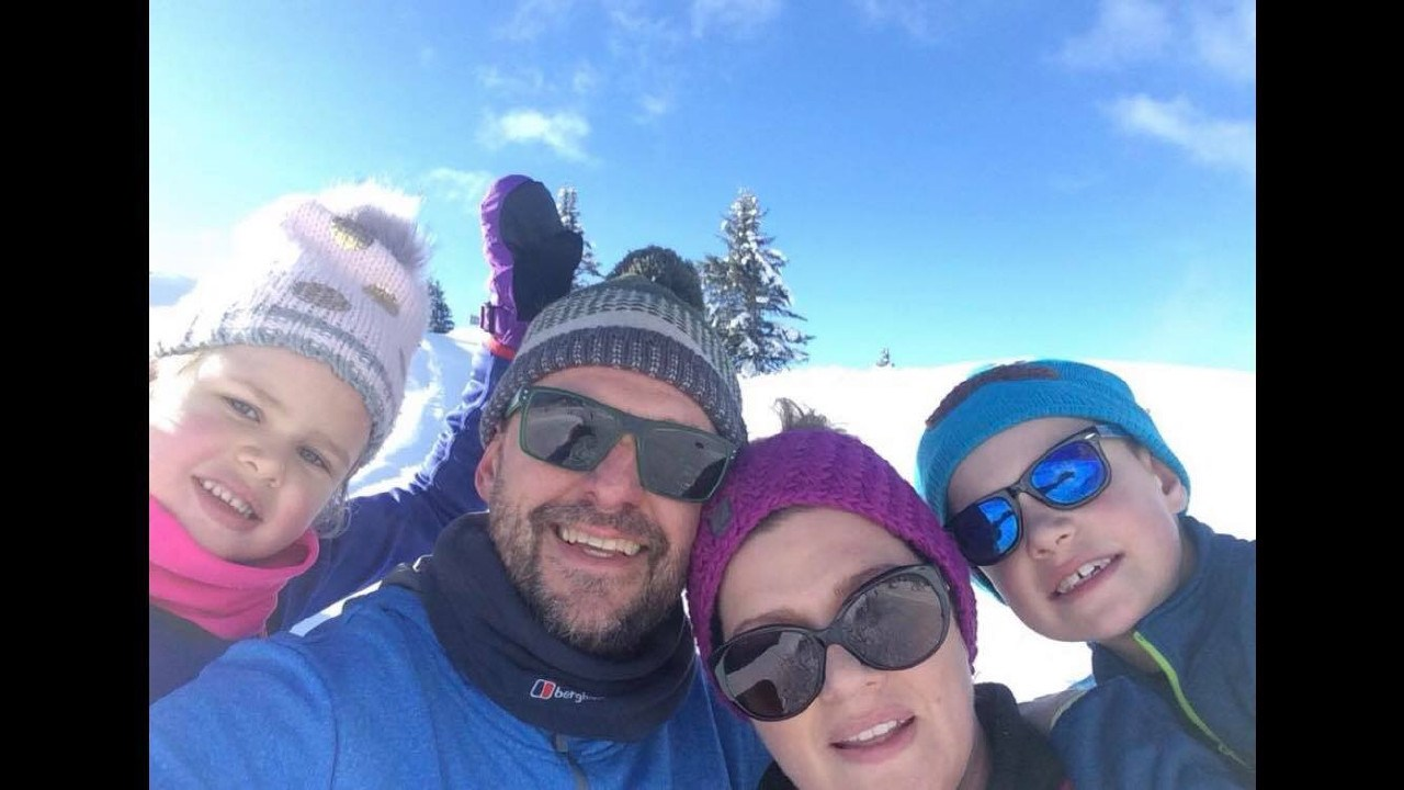 Elsa, Karl, Kerry and Rory Bird on a skiing holiday last year. Picture: Karl Bird