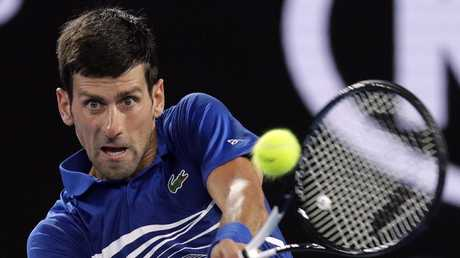 Djokovic had a steely focus on higher honours in his destruction of Pouille. Picture: AP