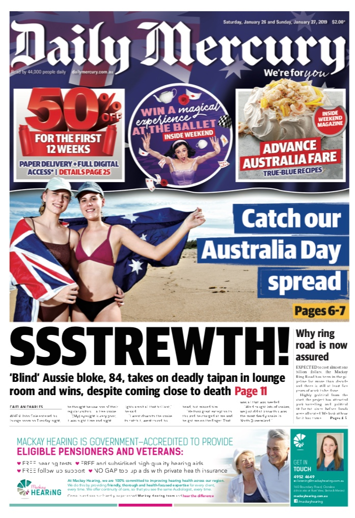 The Daily Mercury front page on Australia Day 2019.