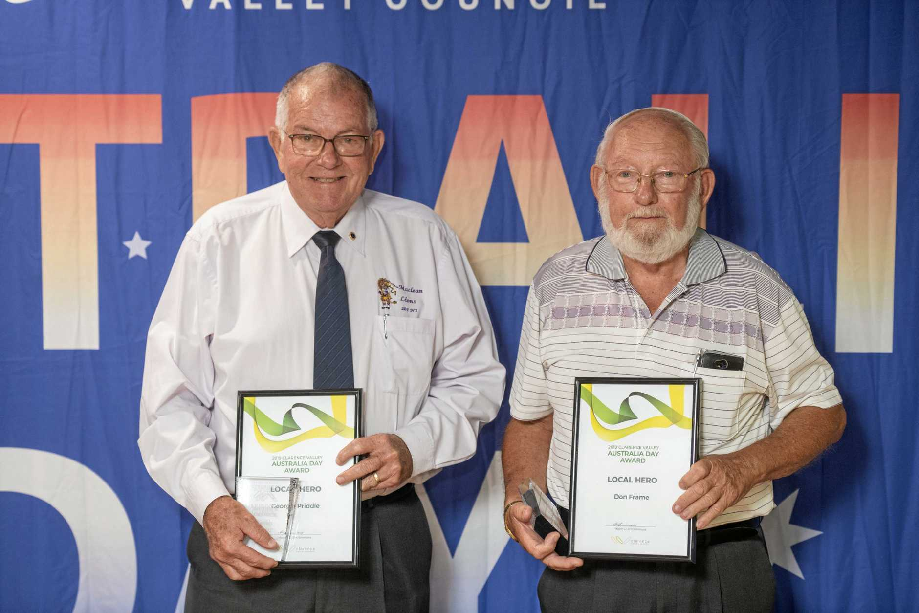 George Priddle and Don Frame were joint winners of the Clarence Valley Australia Day Local Hero award.