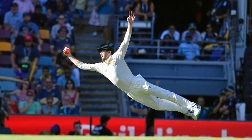 Australia's Kurtis Patterson takes a screamer to dismiss Sri Lanka's Dilruwan Perera off the bowling of Pat Cummins.  Picture: Darren England/AAP