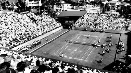 The 1967 Davis Cup final between Roy Emerson and Manuel Santana.