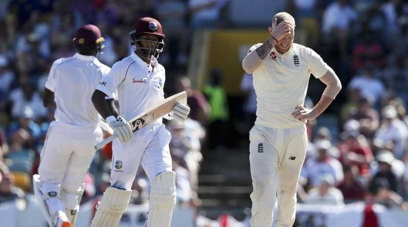 A frustrated Ben Stokes looks on during Shane Dowrich and Jason Holder's record partnership. Picture: AP