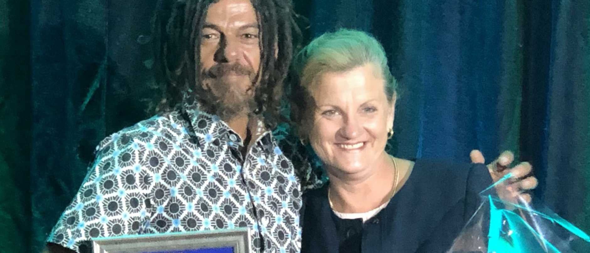 Quandamooka man Josh Walker received the Australia Day Reconciliation Award from Redland City Mayor Karen Williams