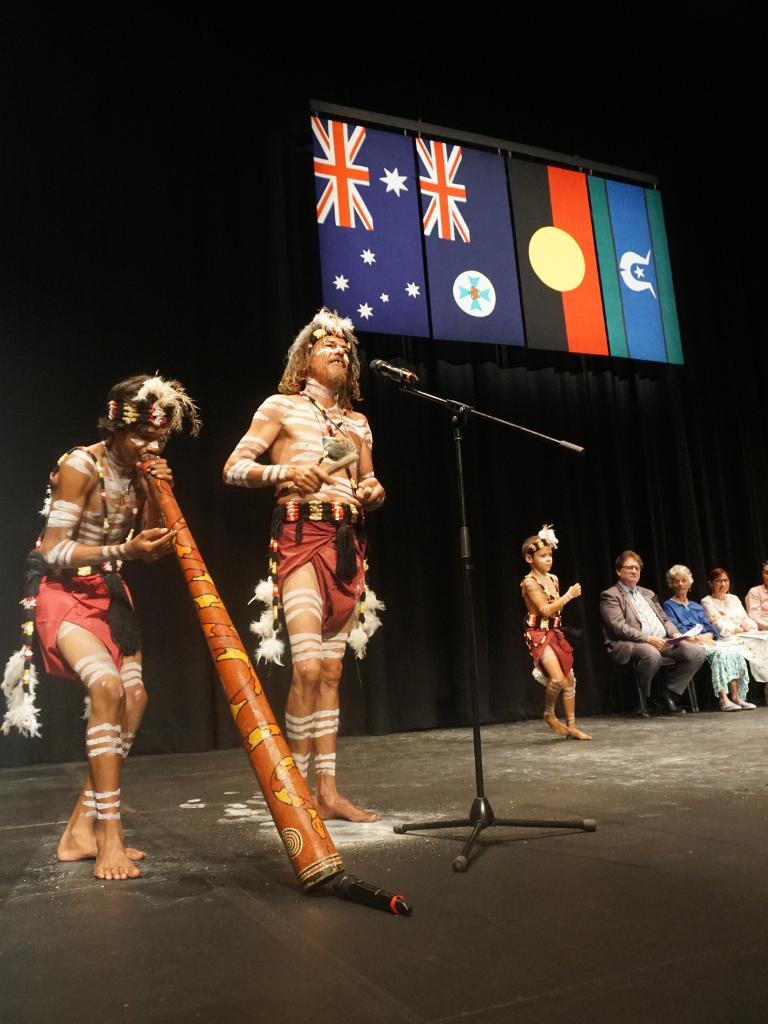 Josh Walker and Yulu-Burri-Ba dancers at today's Redlands Coast citizenship ceremony.