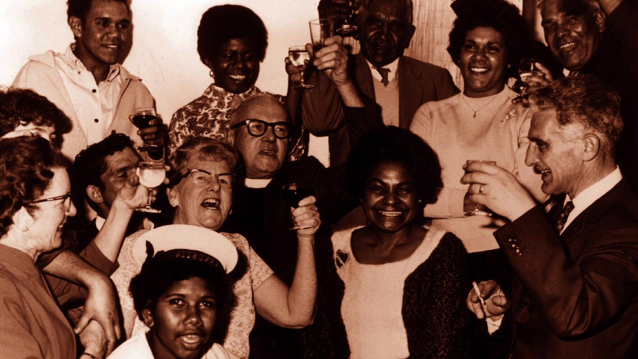 Aboriginal activist Dr Faith Bandler (centre) with both Aboriginal and white supporters during 1967 referendum celebrations.
