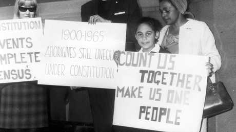 Demonstration protest rally at Martin Place in Sydney prior to May 1967 referendum, campaigning for the right of Aboriginal people to vote in elections.
