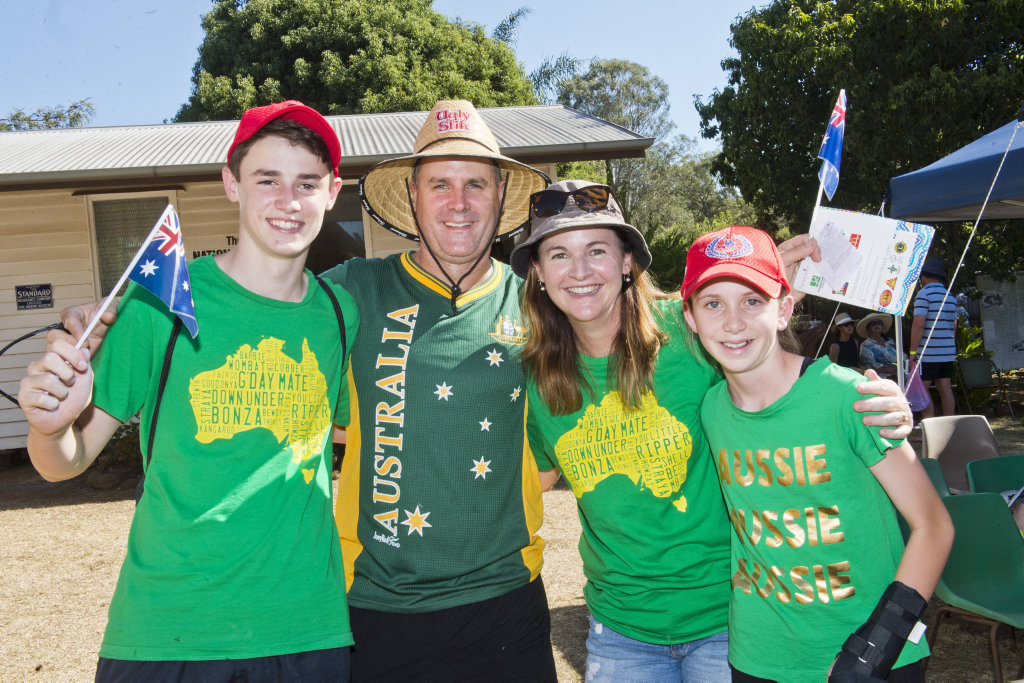(From left) Noah McGrath, Michael McGrath, Caralynn McGrath and Cassy Reinbott at the Highfields Pioneer Village Australia Day celebrations.