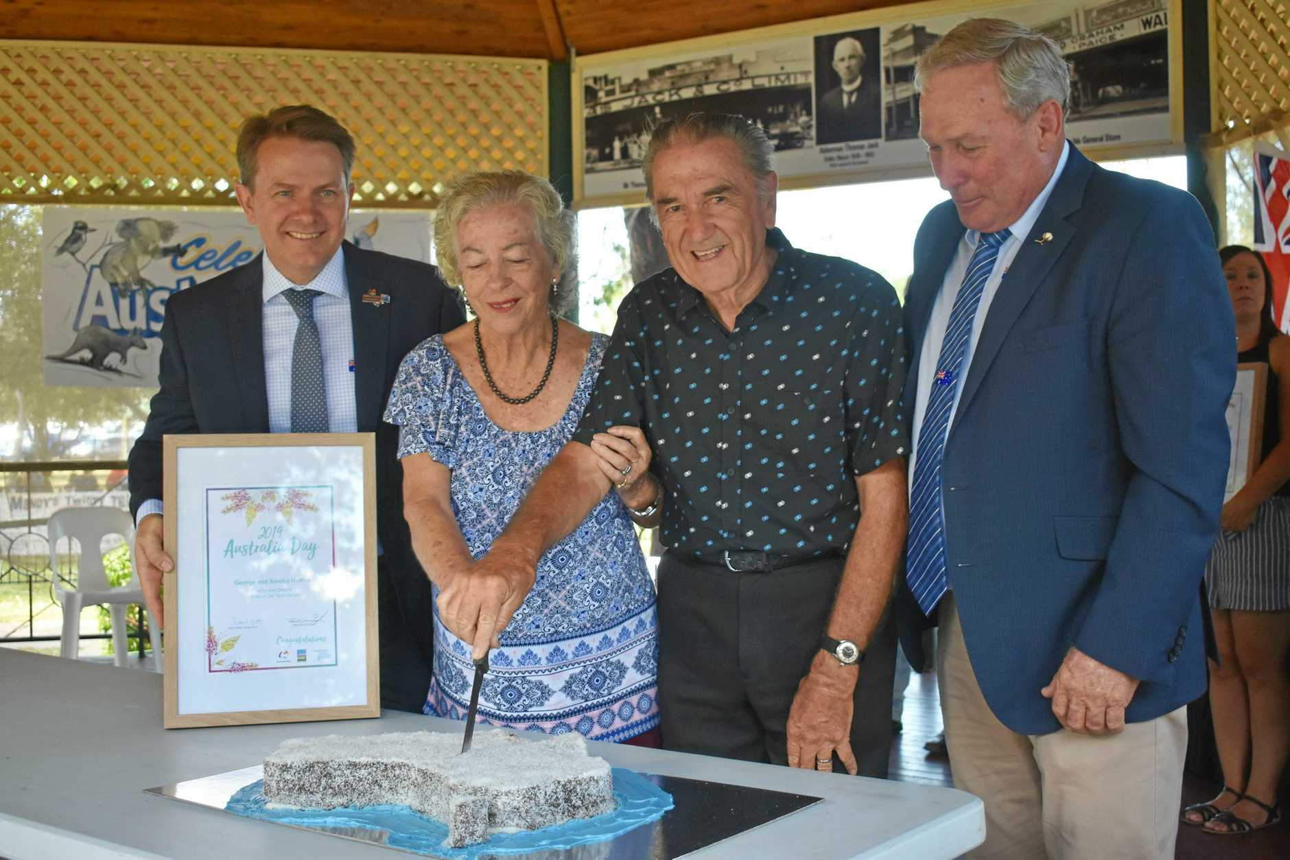 SWEET TOOTH: Citizens of the year, Sandra and George Hames cut the cake with Australia Day ambassador Dr Glenn Gardener and Mayor Paul McVeigh. The cake was in the shape of Australia, including a floating piece for Tasmania.