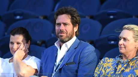 Gillon McLachlan watches Roger Federer and Stefanos Tsitsipas at the Australian Open. Picture: AAP