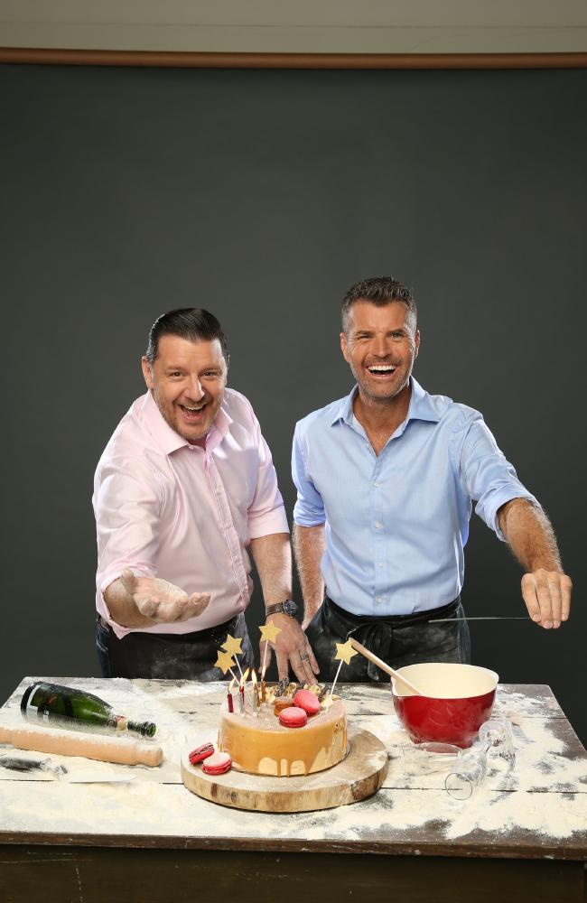 Manu Feildel and Pete Evans are celebrating 10 years of Seven's My Kitchen Rules. Picture: Tim Hunter