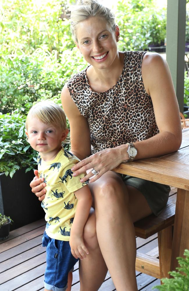 Laura Geitz down on the farm and with son Barney Picture: AAP Image/Richard Waugh