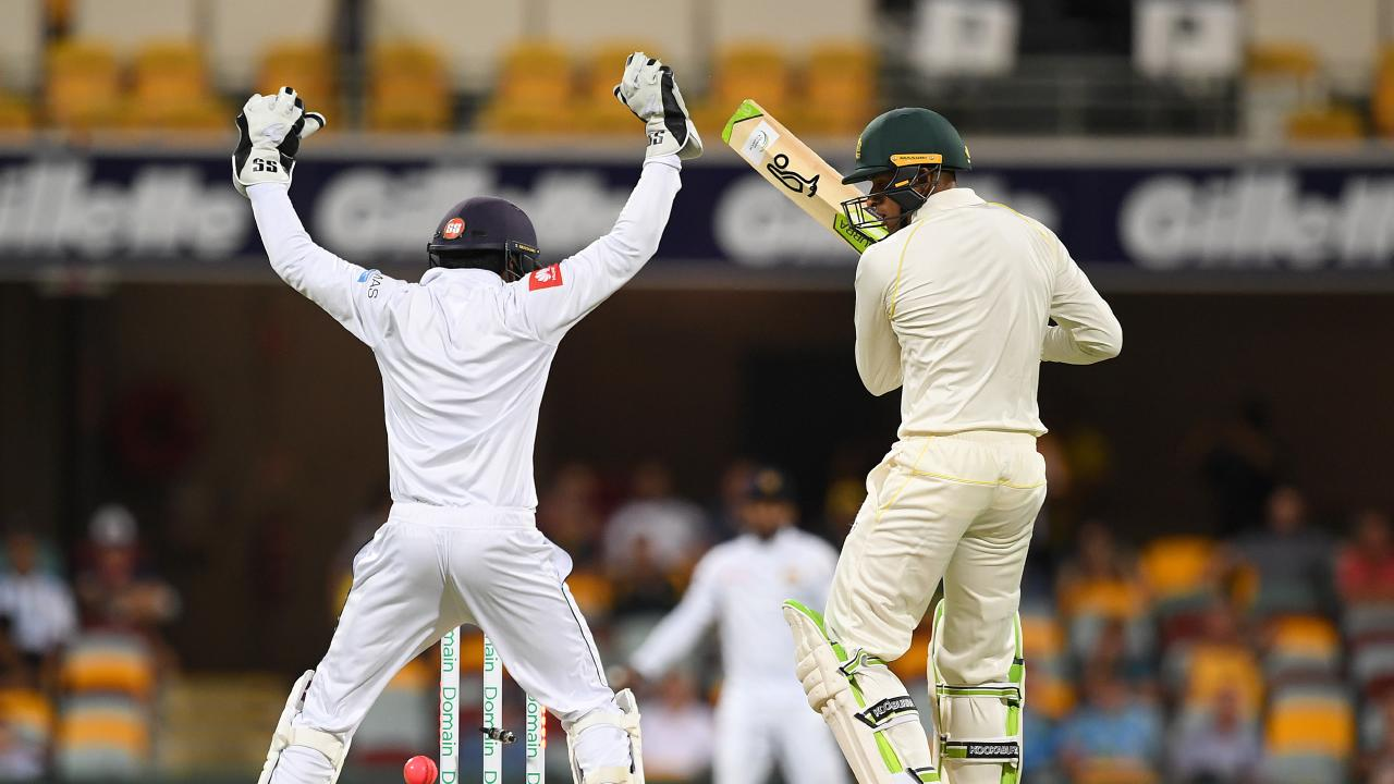 Khawaja is bowled for the third time by Perera. Picture: AAP
