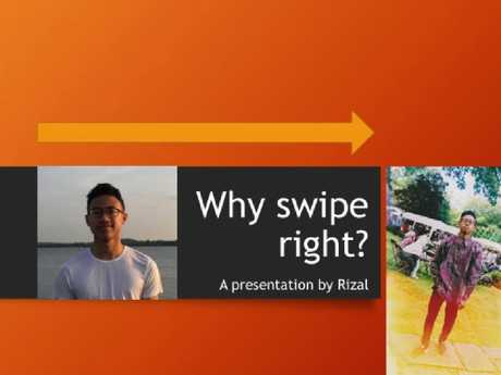 """Rizal's Tinder presentation began by asking the question """"why swipe right"""""""