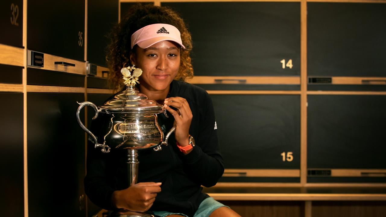 Naomi Osaka with the Australian Open trophy. Picture: Getty Images