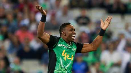 Dwayne Bravo celebrates the match-winning wicket. Picture: AAP