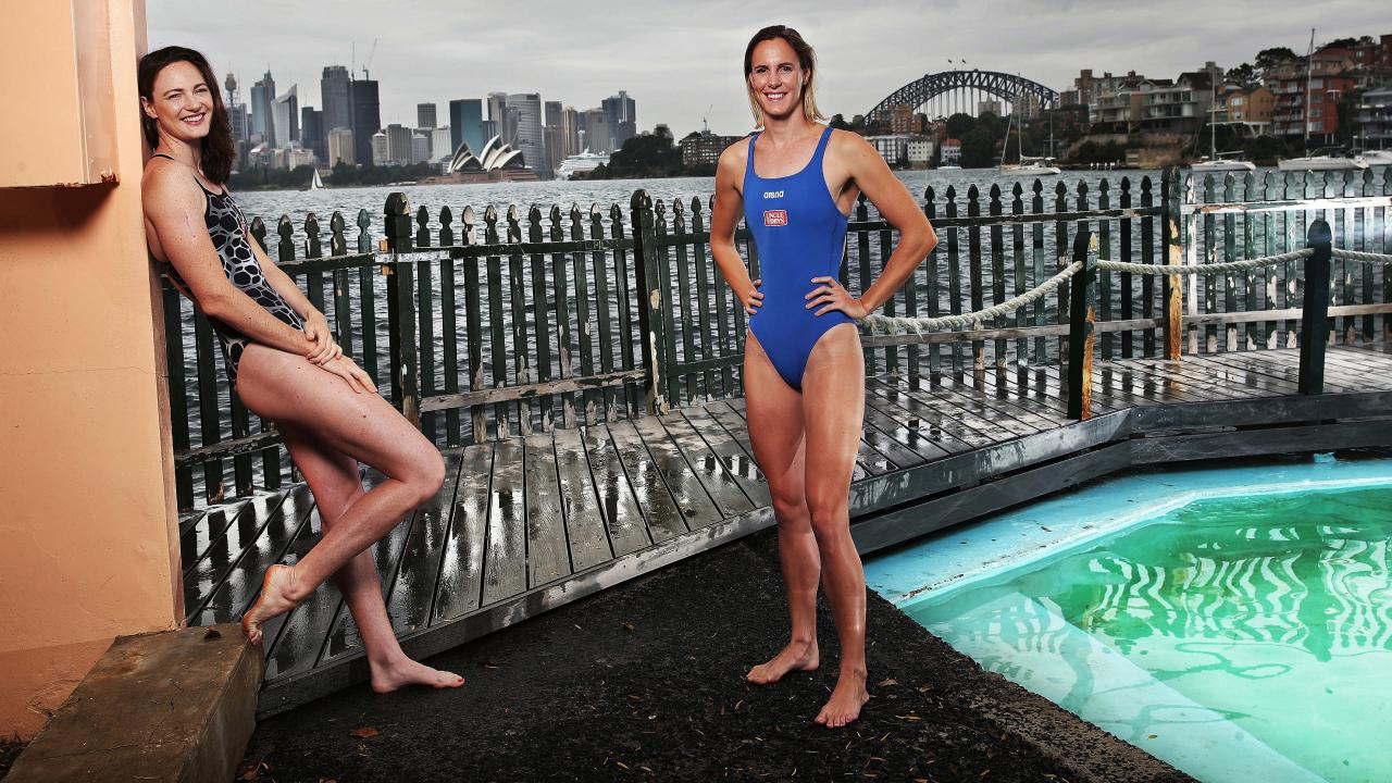 Cate and Bronte Campbell enjoy the view from McCallum Pool, Cremorne Point, after relocating from Brisbane to Sydney. Picture: Phil Hillyard