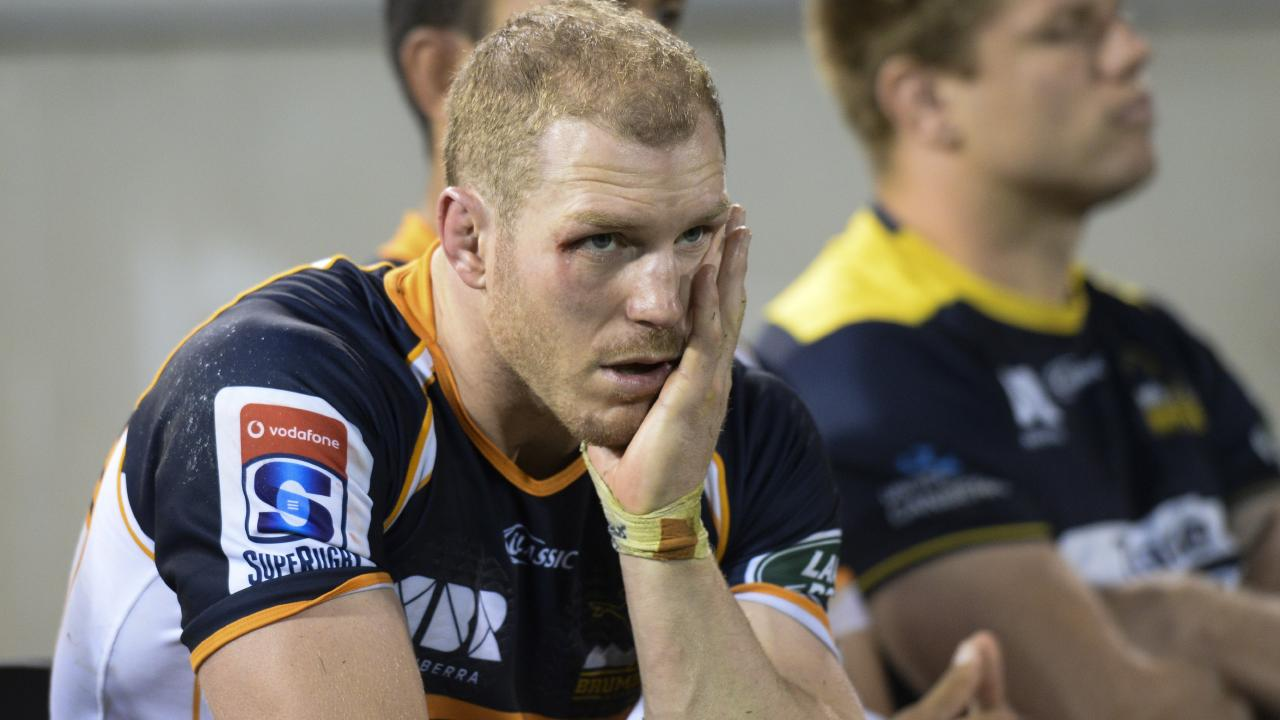 Brumbies star David Pocock watches on at GIO Stadium in Canberra.