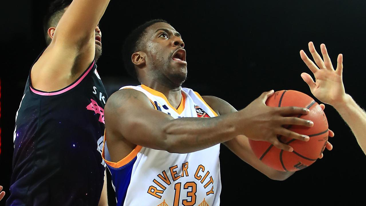 Lamar Patterson of the Brisbane Bullets at the net.