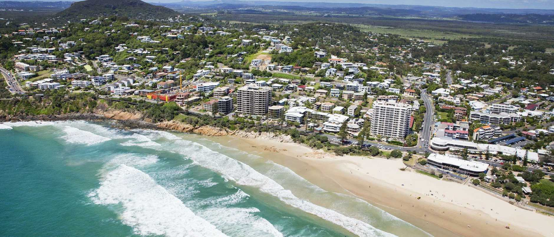 Aerial view over Coolum Beach. Photo Lachie Millard