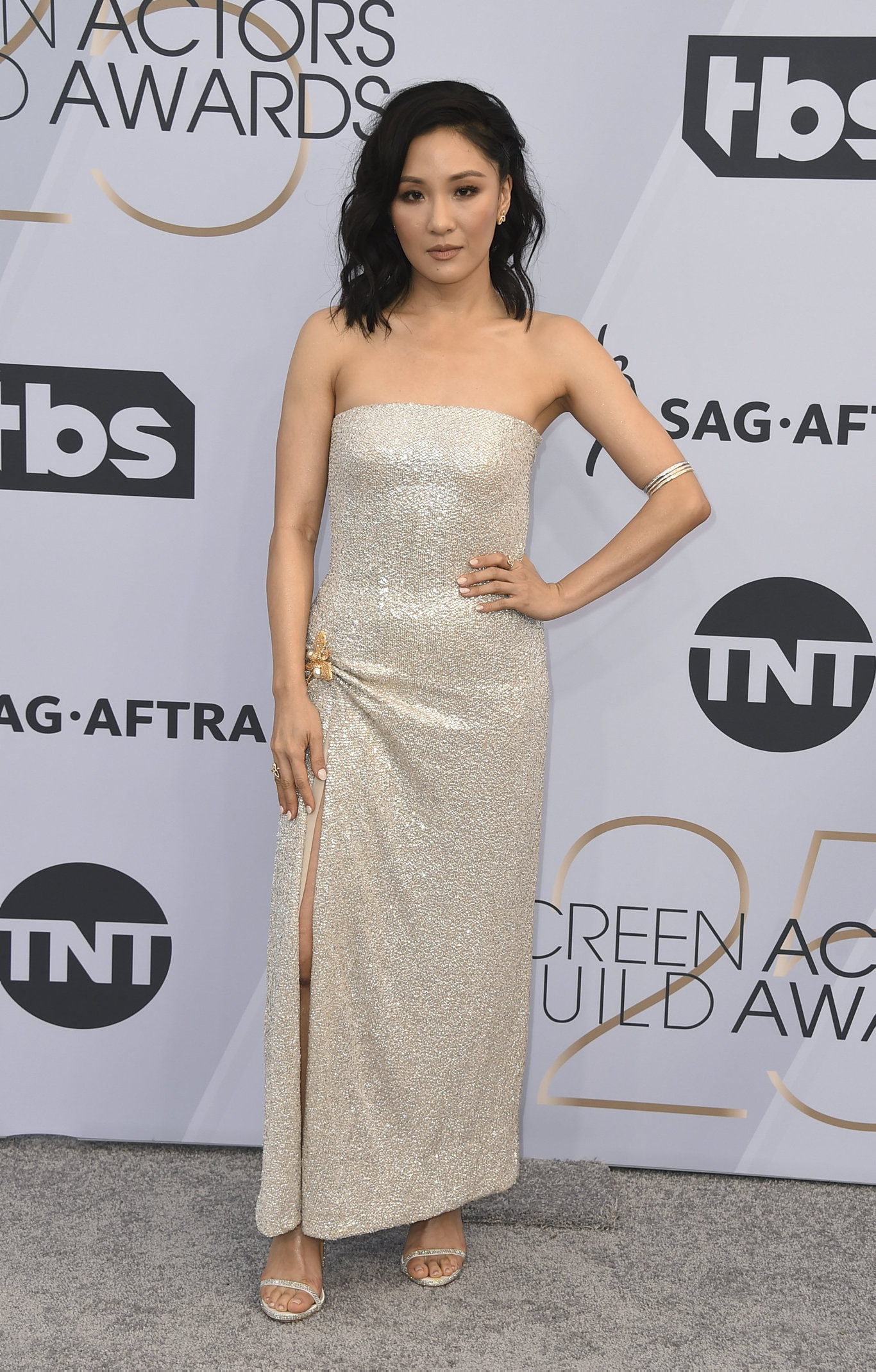 Constance Wu arrives at the 25th annual Screen Actors Guild Awards at the Shrine Auditorium & Expo Hall on Sunday, Jan. 27, 2019, in Los Angeles.