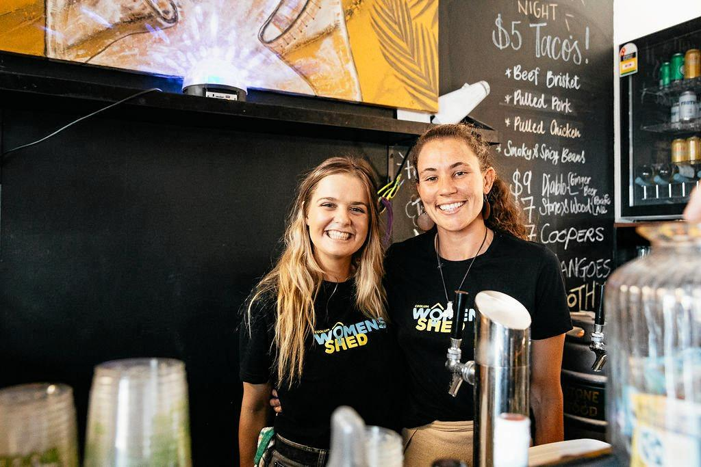 THE SISTERHOOD: Coolum Women's Shed communications officer Kate Doherty (left) and grants writer Ilana Kelly at the fundraiser.