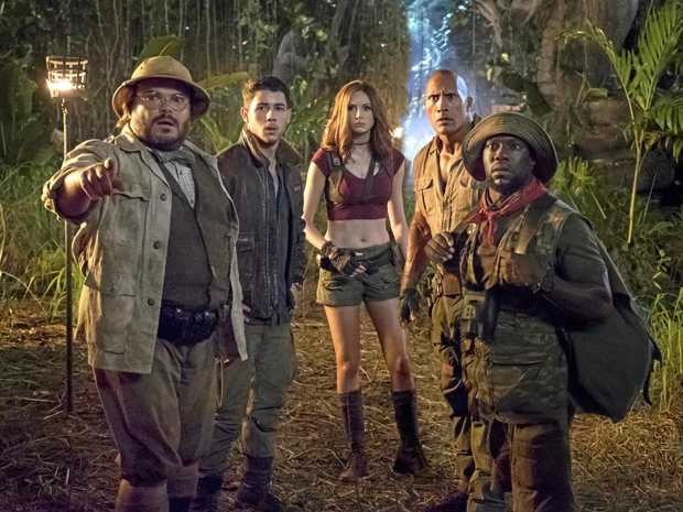 Jack Black, Nick Jonas, Karen Gillan, Dwayne Johnson and Kevin Hart star in a scene from the movie Jumanji: Welcome to the Jungle. Supplied by Sony Pictures.