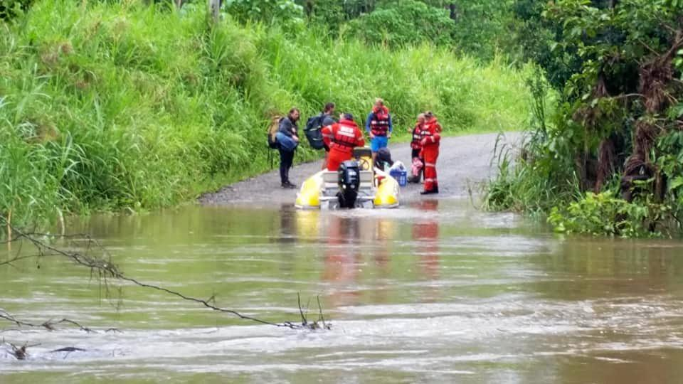 LUCKY ESCAPE: Fourteen tourists were rescued from the Cedar Creek water crossing this morning.
