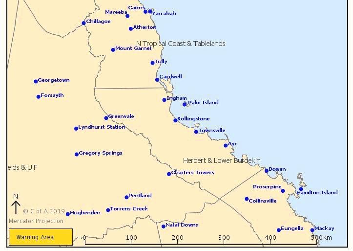 The severe weather warning for the Whitsundays was cancelled on Monday afternoon.