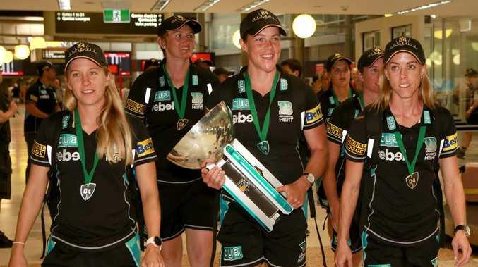 The Brisbane Heat champions return to Brisbane Airport on Sunday. Picture: Sarah Marshall