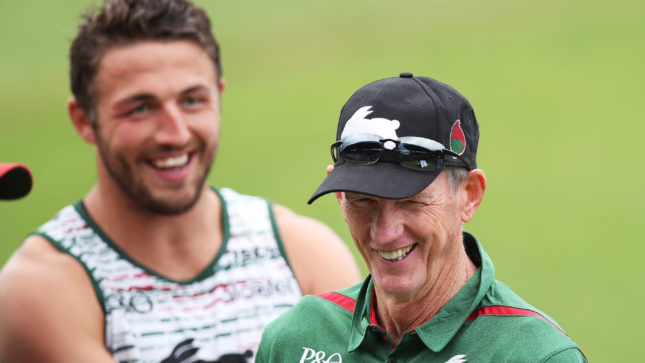Wayne Bennett all smiles having a laugh with Sam Burgess at Redfern Oval for his first session as South Sydney Rabbitohs coach. Picture. Phil Hillyard