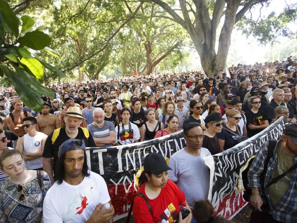 Supporters gather in Hyde Park to listen to speakers before the march began on Saturday. Picture: Tim Pascoe