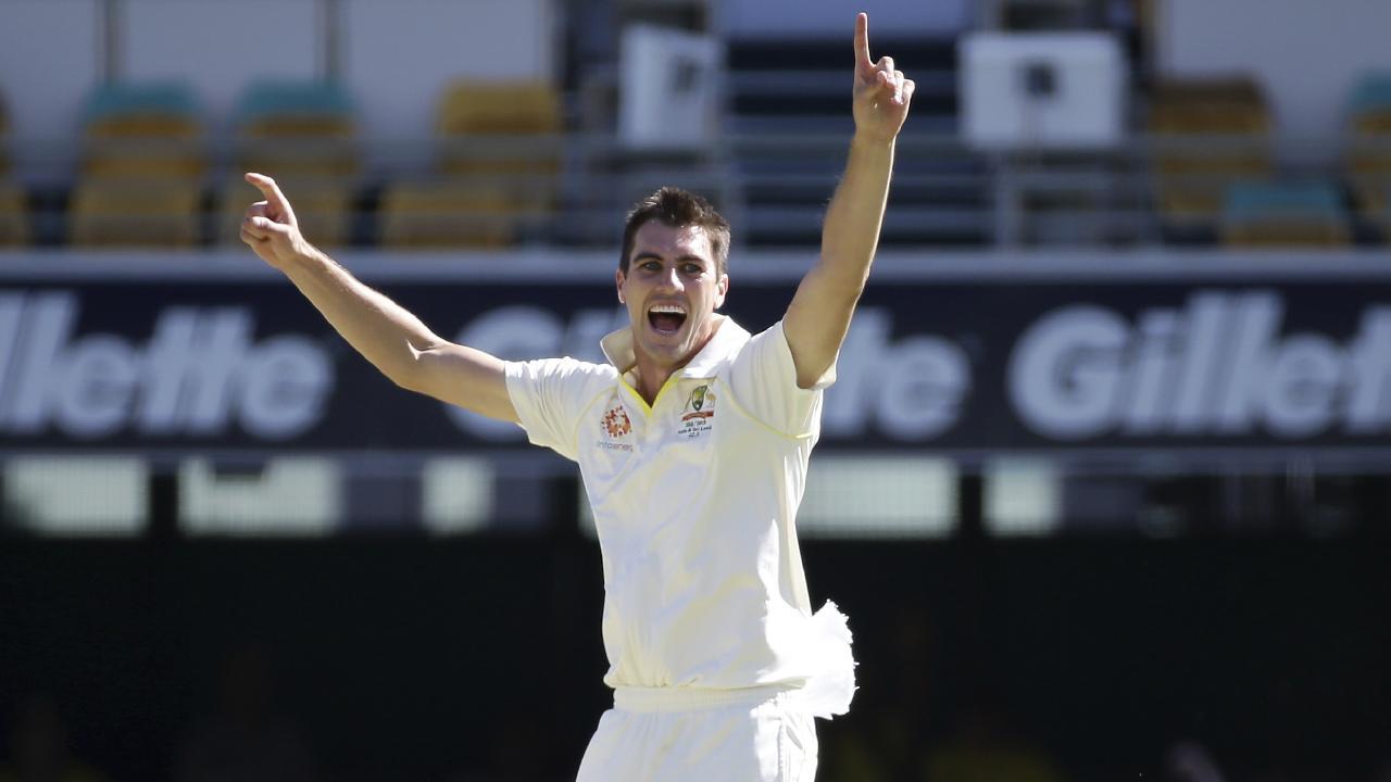Pat Cummins celebrates a wicket against Sri Lanka.