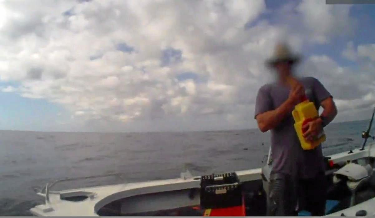 Vision from a Queensland Boating and Fisheries bodyworn camera targeting illegal catches and unsavory behaviour.
