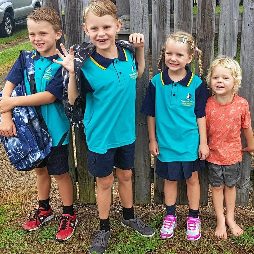 Sonny, 6, is in Year 2, Ryder, 8, is in Year 3, Sadie, 5, is in Prep and Koby, 3, is starting Kindy.
