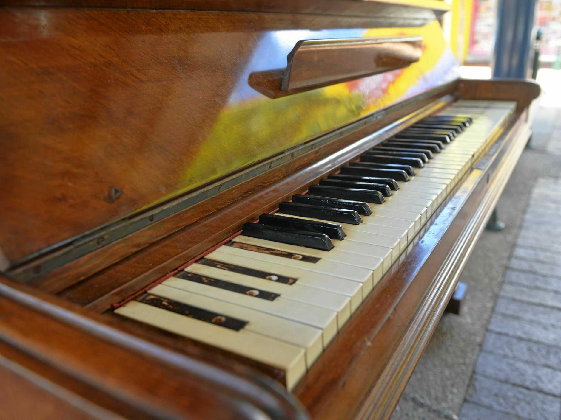 HIGH NOTE: The CBD piano is in the midst of repairs after vandals stole most of the black keys.
