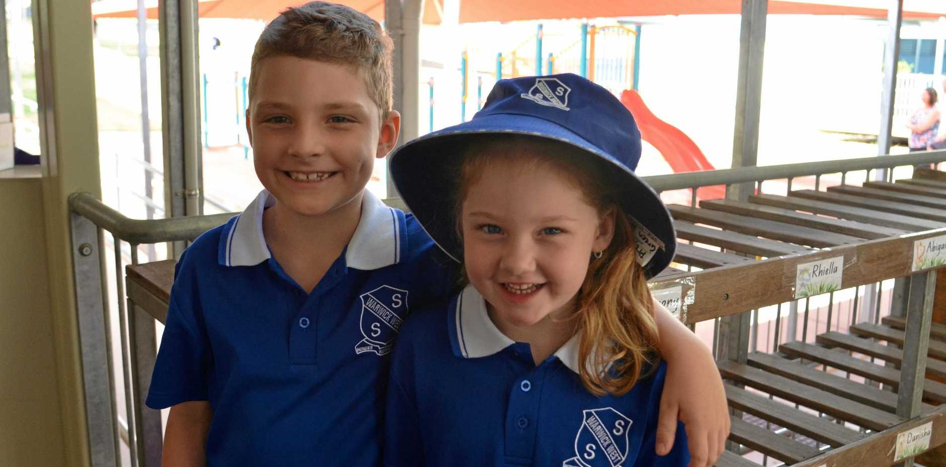 NEW UNIFORMS: Harrison Moncada and his little sister Molly-Grace Moncada started at Warwick West State School.