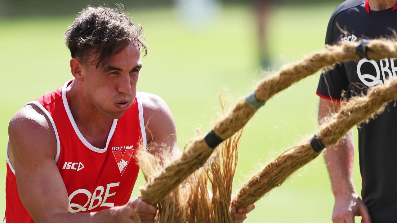 Sydney recruit Ryan Clarke works hard at pre-season training.