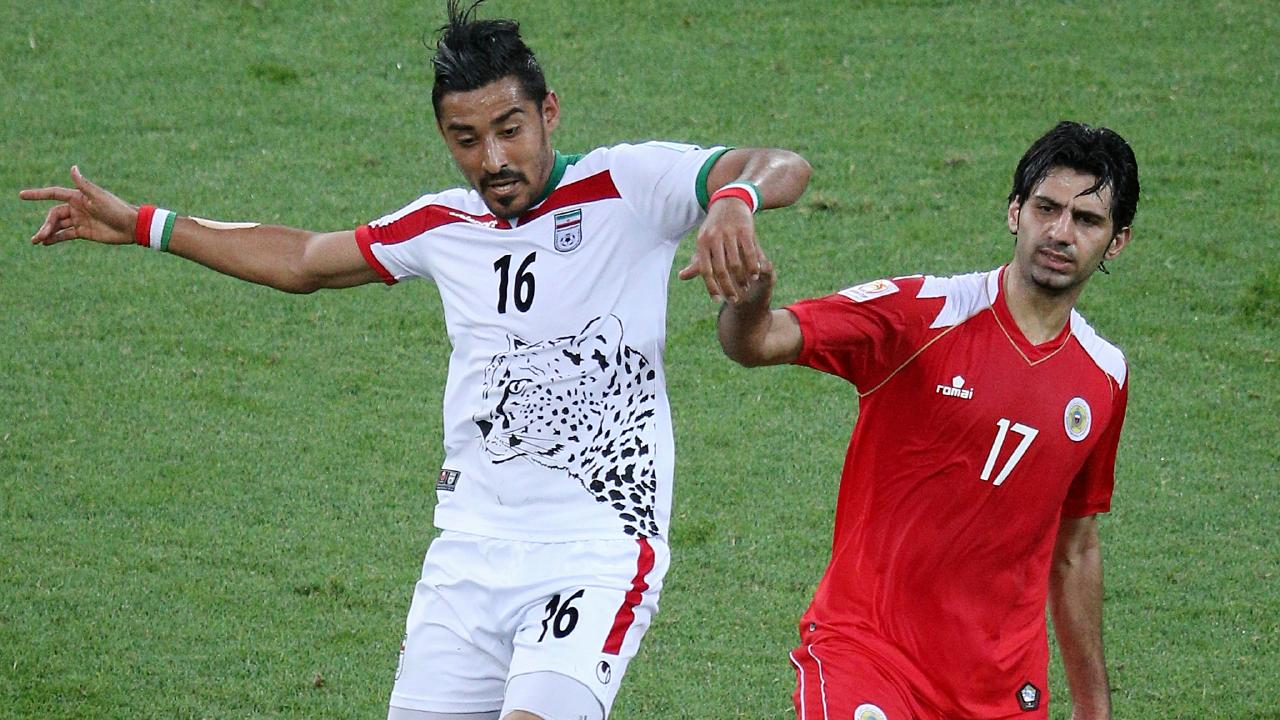 Ghoochannejhad in actin fro Iran during the 2015 Asian Cup. (George Salpigtidis)