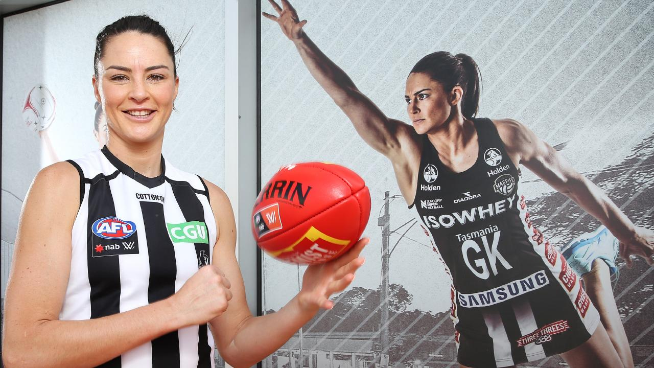 Former Australian netballer Sharni Layton is preparing for her first season of AFLW with the Magpies. Picture: Michael Klein