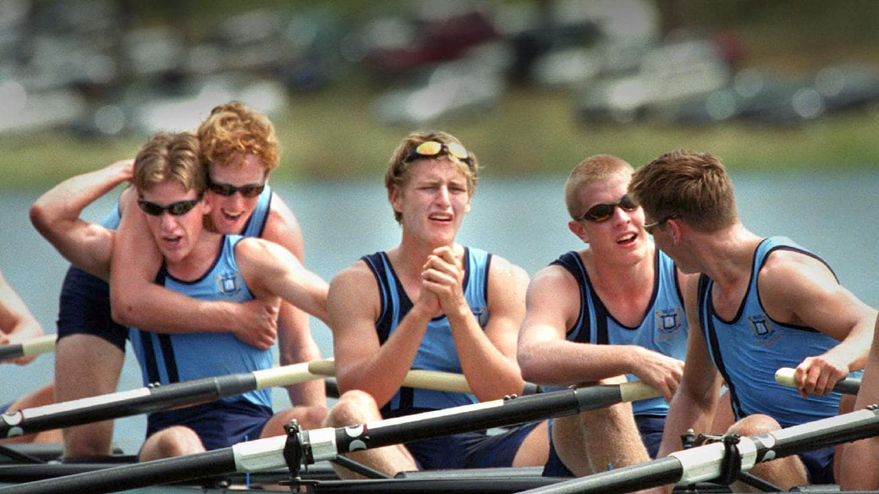 Brisbane Grammar celebrate their 2001 victory.