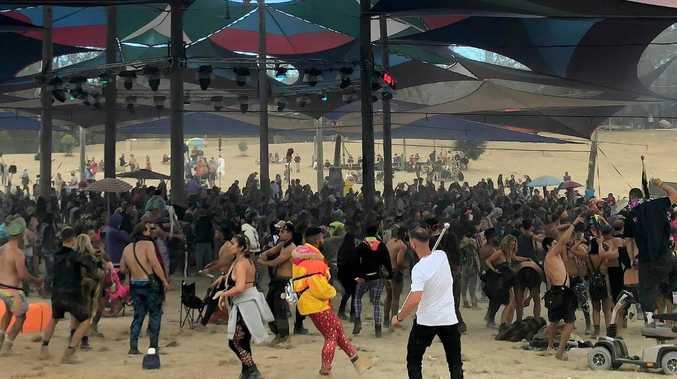6.30am Revellers rave all day and night. Rainbow Serpent Festival. Picture: No byline please.