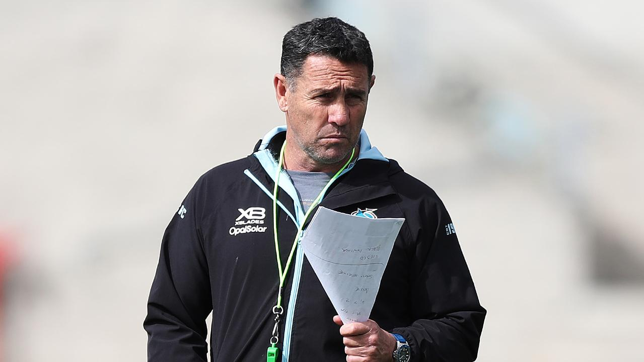 Cronulla coach Shane Flanagan during a Cronulla Sharks training session at Southern Cross Group Stadium, Cronulla ahead of their first finals game against the Roosters. Picture: Brett Costello
