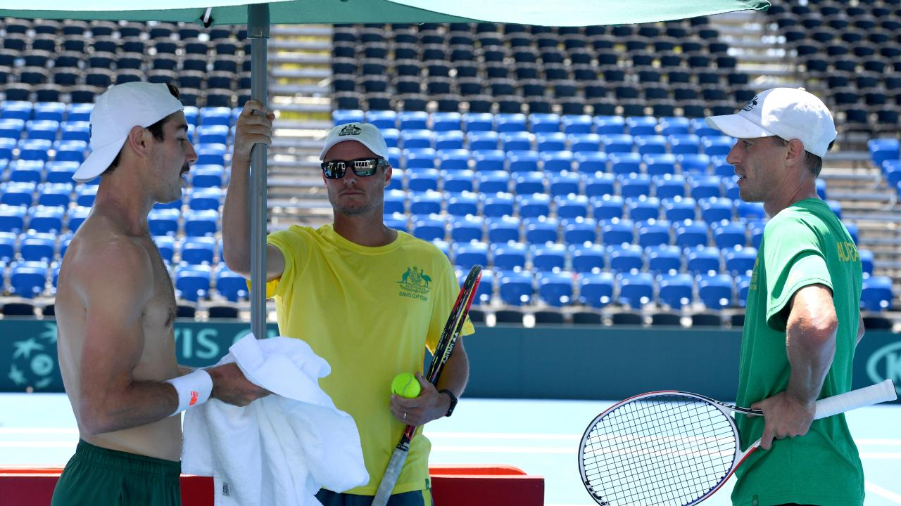 Captain Lleyton Hewitt with players Jordan Thompson and John Millman as Australia prepares for this weekend's Davis Cup tie against Bosnia-Herzegovina at Memorial Drive. Picture: Tricia Watkinson