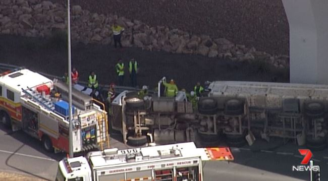 A truck rollover has caused the southbound lane of the Airport Link Tunnel to be completely blocked. Picture: 7 News Brisbane