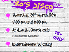 80' Disco to raise money for Cancer council Relay for Life.  Free drink on arrival and canapés and synthesized 80's tunes by CQDJ Sam.