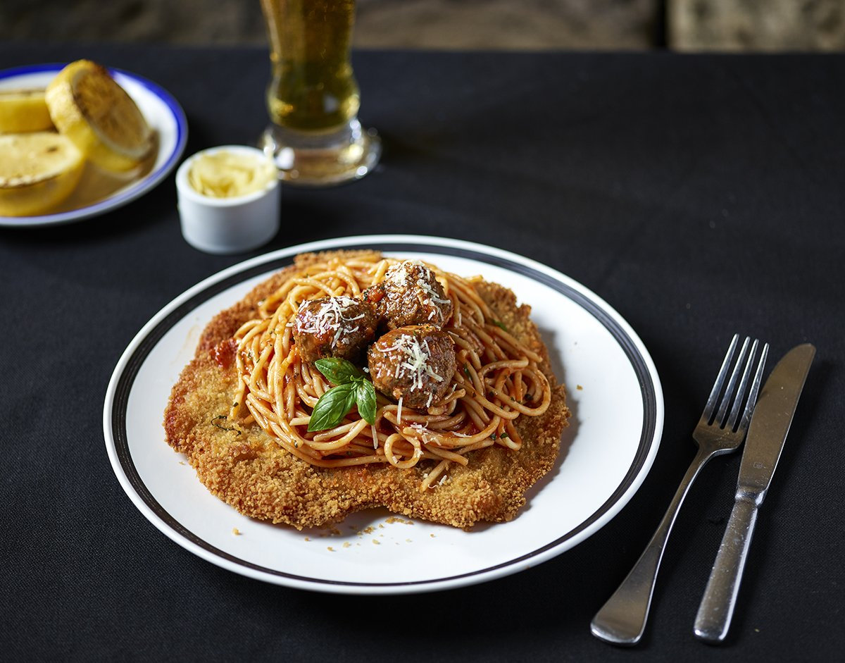 The Bavarian's loaded schnitzels. The Meatball.