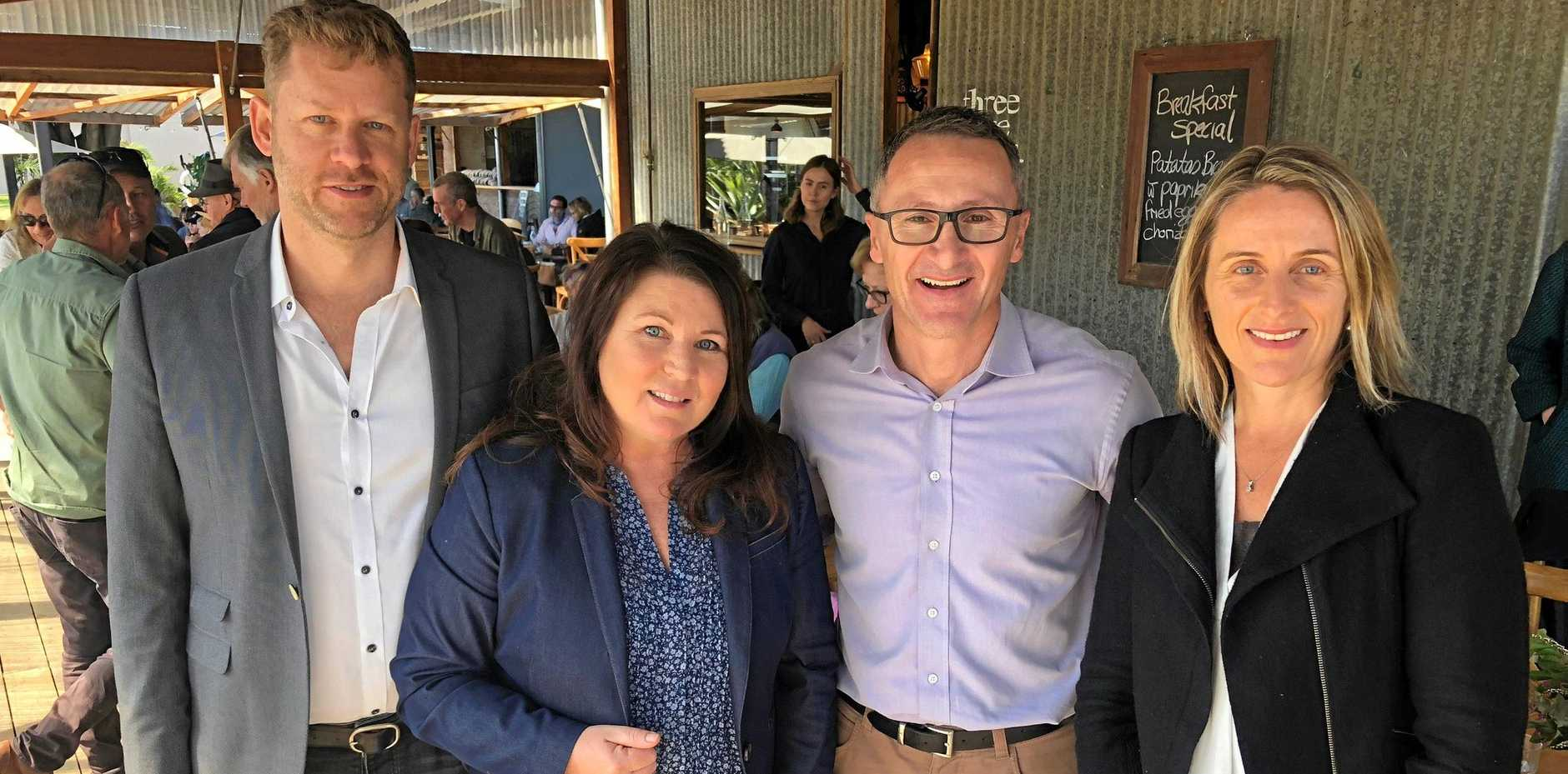 GREEN ROADS: Byron Shire Councillor Michael Lyon, the endorsed Green's candidate for the federal seat of Richmond, Ballina MP Tamara Smith, Federal Greens leader Richard Di Natale and Lismore Greens candidate Sue Higginson.